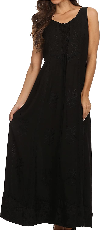 Sakkas Stella Long Tank Top Caftan Super Super Special SALE held sale Dress with Corset Adjustable