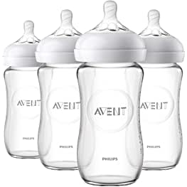 Philips Avent Natural Glass Baby Bottle, Clear, 9oz, 4pk, SCF703/47