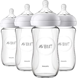Philips Avent Natural Glass Baby Bottle, 8oz, 4pk, SCF703/47