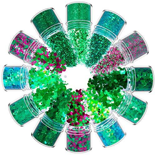 Rtengtunn 12 Colores Mezclados holográfico Grueso Brillo Cara Cuerpo Ojo Pelo uñas Resina Lentejuelas - E