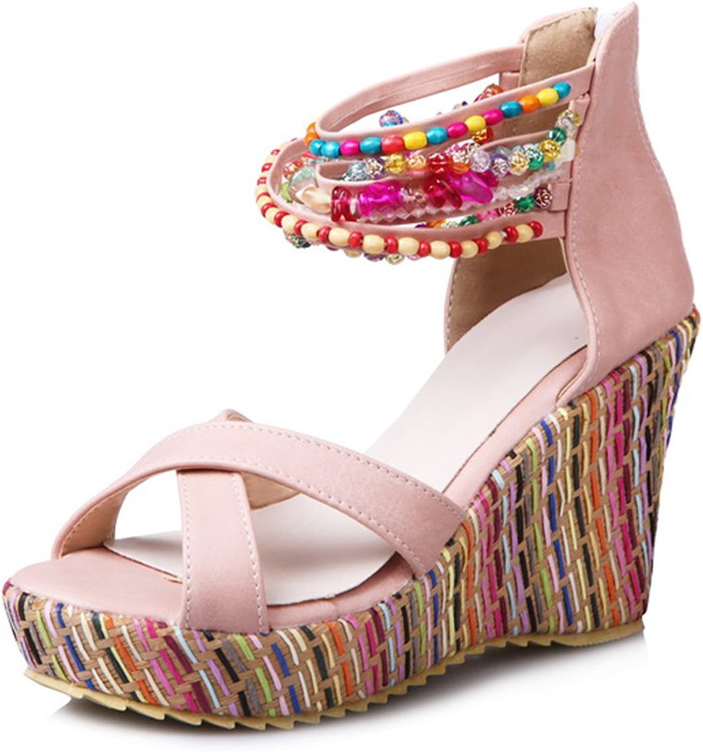 DoraTasia Bohemia colorful Beading String Cross Belts Platform High Wedges Women Sandals