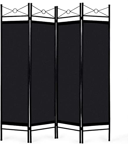new arrival Giantex 4 Panel Room Divider Screens Steel Frame & Fabric high quality Surface Freestanding Room Dividers and Folding Privacy new arrival Screens Home Office, Black sale