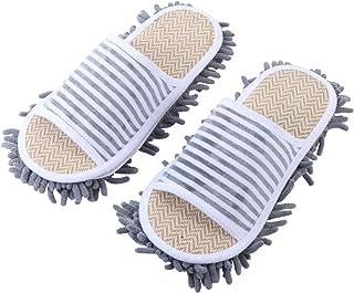HEALLILY 1 Pair Men and Women House Dusting Slippers Floor Dust Dirt Cleaning Slipper Slipper Microfiber Floor Cleaning Wa...
