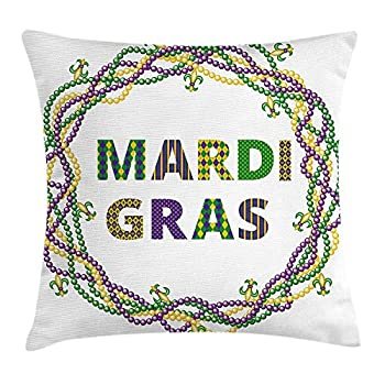 Newhomestyle Throw Pillow Cover Mardi Gras Vivid Beads Circular Frame with Lettering Traditional Patterns Print Cotton Home Decor Square Cushion Pillowcase 20x20 Inch