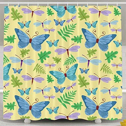 Duschvorhang, grün-blau, Schmetterling, wasserdicht, Stoff, 182 x 182 cm