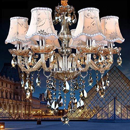 miwaimao Lámpara de techo de cristal transparente K9 con 8 brazos, lámpara de araña, elegante lámpara de araña para salón, comedor, pasillo, escalera, pantalla Nolamps
