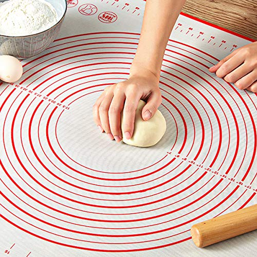 "Pastry Mat for Rolling Dough, WeGuard 24""x20"" Extra-large Silicone Pastry Kneading Mat Board with Measurements Marking BPA Free Food Grade Non-stick Non-slip Rolling Dough Baking Mat"