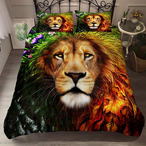 Prinbag 3D HD Animal Watercolor Lion Bedding Winter Duvet Cover Pillowcase three-piece Set Soft Cute Comforter 220x260cm + 50x75cm * 2
