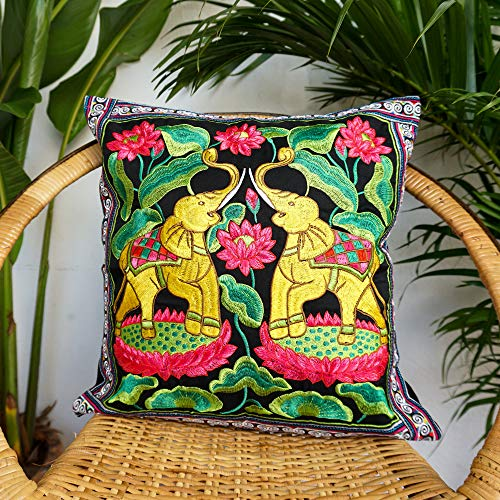Changnoi Gold Elephant Couple Cushion, Boho Cushion, Bohemian Cushion, Hippie Cushion, Fair Trade Pillow Case, Artisan Cushion