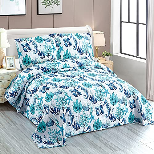 Beach Quilt Sets Ocean Coral Bedspread Twin Size Coastal Bedding Set Blue Seahorse Starfish Shell Quilt Lightweight Reversible Bed Coverlet Soft Summer Quilts