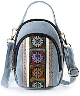 XIAO Cell phone purse, can be used as crossbody bag gift, small fresh embroidered, canvas material Happy day (Color : Light blue)