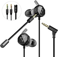 Gaming Earbuds, GGMM Gaming Headphones with Detachable Dual Mic Volume Control Wired in-Ear Headphones with 3.5mm Jack for Mobile Gaming