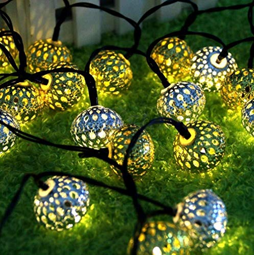 String Lights Solar Fairy Lights LED Solar Decorative Fairy Lights Moroccan Ball 5 Metres 20 LEDs Warm White Decoration for Bedroom Garden Wedding Party Christmas (Silver) Silver (Color : Golden)