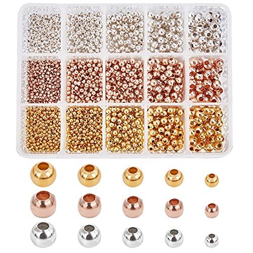 PandaHall 1800 piezas de 5 tamaños sin costuras, cuentas redondas de latón, cuentas sueltas, espaciadoras sin costuras, cuentas redondas para pulseras, joyas, manualidades, collares