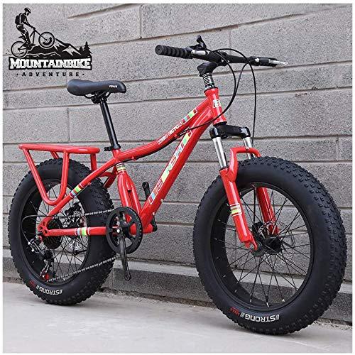 Wttfc Damen 20 Zoll Hardtail MTB, Mädchen Fette Reifen Mountainbike mit Gabelfederung, Zwei Scheibenbremsen Fahrräder Geeignet ab 130-160 cm, Rahmen aus Kohlenstoffstahl,Orange,24 Speed