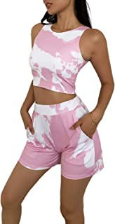 DREAM SLIM-Women's 2 Piece Tie Dye Outfits-Sexy Outfits Sleeveless Crewneck Crop Top + Sweatpants Active Shorts Tracksuit