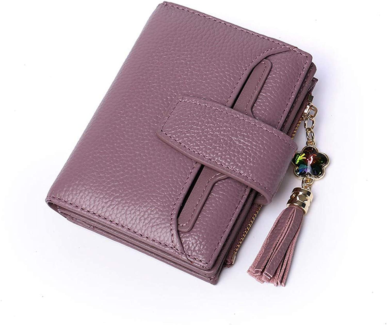 DYR Wallet Men's and Women's leatherllet Short Card Bag Casual Purse Document Bag, Purple