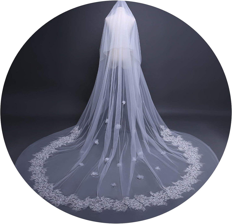 2019 Appliqued Bridal Wedding Luxury Veil Lace Edge Long 3.8 m Vestido de White Accessorie Pour Mariage With Comb D30,WHITE,350cm