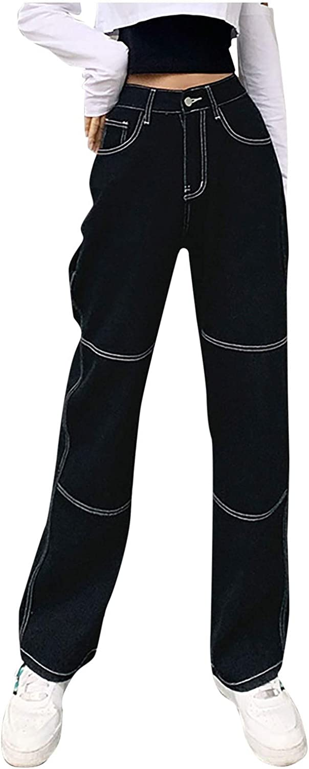 ZAKIO High Waist Jeans for Women Y2K Fashion Baggy Denim Trousers Casual Vintage Relaxed Fit Wide Leg Jeans