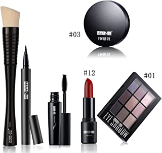 FantasyDay 6Pcs Pro Makeup Gift Set Essentials Starter Beauty Kit Cosmetic Kit Including Highlighter Powder, Mascara, Eyeshadow, Lipstick, Eyeliner Pen and Foundation Powder Brush Makeup Tool Set #3