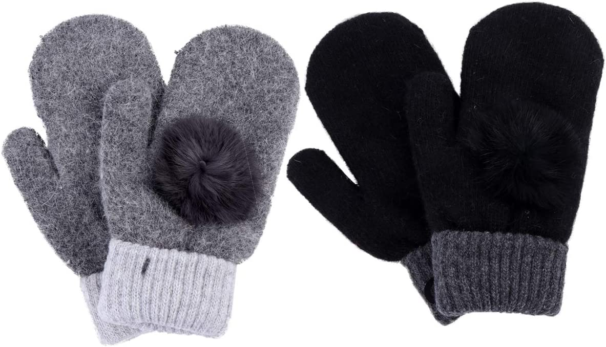 PRETYZOOM 2 Pairs Winter Mitten Gloves Lovely Warm Fleece Lined Thermal Mitten for Woman