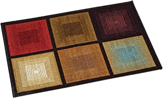 Collections Etc Optic Squares Skid-Resistant and Nonslip Accent Rug with Burnished Autumn Red, Brown and Beige, Brown, 20 X 59