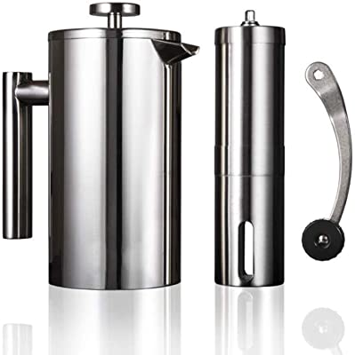 Manual Coffee Grinder Stainless Steel French Press Coffee Maker Set Double Walled Insulated Coffee Tea Filter