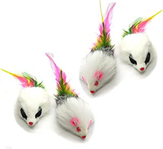 Kats'N Us Real Rabbit Fur Long Hair Feather Tail Mouse Cat Toy - 4pk