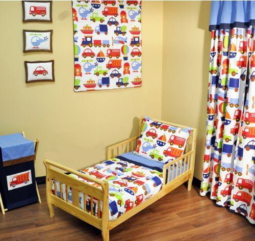 Bacati - Transportation Blue 4 Piece Toddler Bedding Set