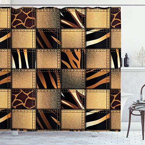 "Ambesonne Safari Shower Curtain, Jeans Denim Patchwork in Safari Style Wilderness Design Art Print, Cloth Fabric Bathroom Decor Set with Hooks, 70"" Long, Brown Black"
