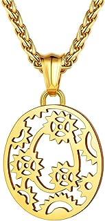 Bandmax O Alphabet Pendant Necklace for Men Boys Women 18K Gold Plated Metal Mechanical Gear Silver Initial Letter Pendant...