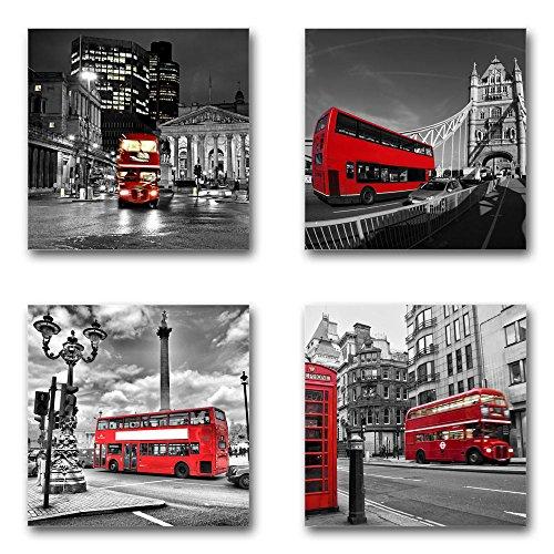 London England - Set B schwebend, 4-teiliges Bilder-Set je Teil 29x29cm, Seidenmatte Moderne Optik auf Forex, UV-stabil, wasserfest, Kunstdruck für Büro, Wohnzimmer, XXL Deko Bild