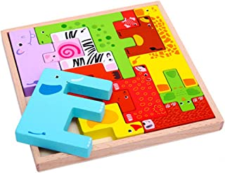 SEVENHOPE Holz Tangram Puzzle Kreative Fr/ühe P/ädagogische Spielzeug Holz Tiere Tetris Puzzle Stacking Blocks Balancing Spiele Spielset Montessori Spielzeug