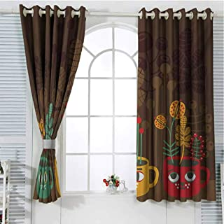 Modern Pattern Curtains Blackout Cute Plants Flowers Inside Faced Cups Pottery Theme Creative Funky Artful Print Bedroom Decor Living Room Decor W107 x L84 Inch Multicolor