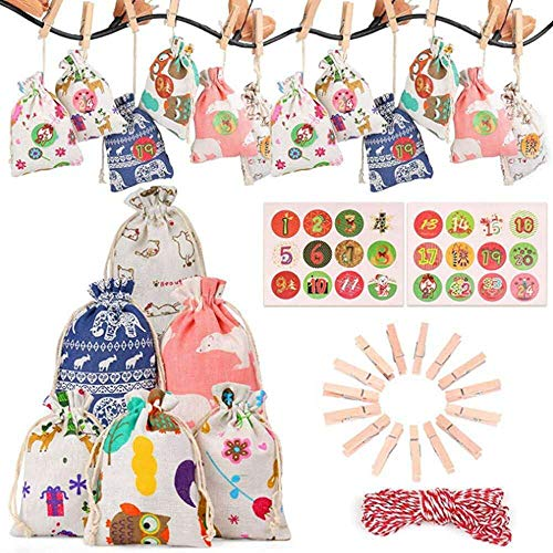 YuKeShop 24PCS Christmas Candy Bag,1-24th Advent Calendar Bundle Yellow Linen Jewelry Pouches Wedding Party Christmas Favor Gift Bags (Multicolor)