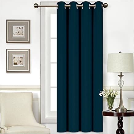 """Mellanni Thermal Insulated Blackout Curtains - 1 Panel - Window Treatments/Drapes for Bedroom, Living Room with Silver Grommet and 1 Tieback (1 Panel, 52"""" x 63"""", Navy)"""