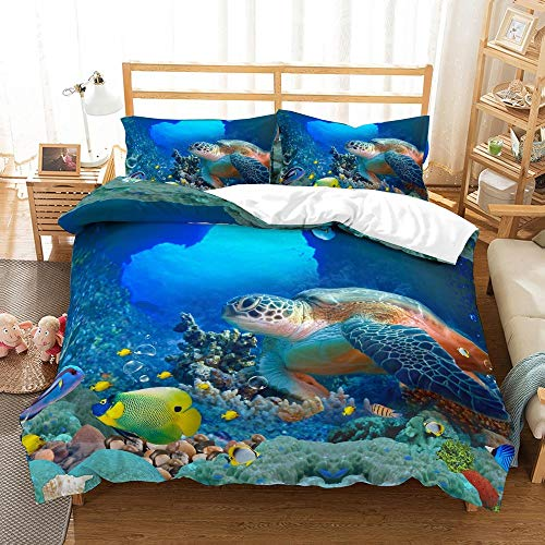 REALIN Marine Animals Sea Turtles Bedding Turtle Penguin Dolphins Tropical Fish Coral Duvet Cover Set For Children And Adult,2-4PCS Microfiber Quilt Cover/Sheet/Pillow Shams,Twin/Full/Queen/King Size