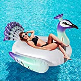 SPERPAND Huge Inflatable Peacock Pool Float,Pool Raft Lounge Ride On, Fun Summer Party Decorations Pool Toy