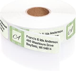 Tailored Green Elegance Designer Rolled Address Labels with Elegant Plastic Dispenser