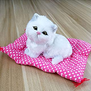 2017 Vivid Simulation Plush Seat Cat Toy with Sound Kids Toy Birthday Gift Doll Decorations Stuffed Toys Kidstime, Color White
