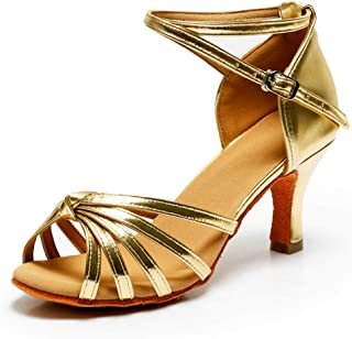 853519121a VASHCAME-Zapatos de Baile Latino de Tacón Alto/Medio para Mujer