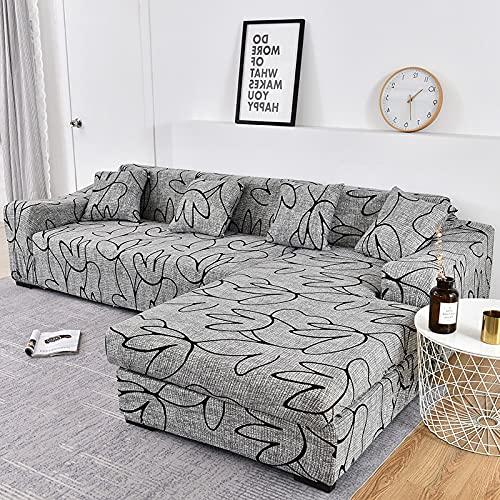 MKQB Funda de sofá elástica telescópica, Moderna Sala de Estar en Forma de L, combinación de Esquina, Funda de sofá Antideslizante, Envuelta herméticamente NO.14 S (90-140cm