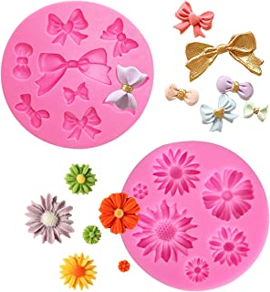 SHAFIRE Sun Flower & Bow Fondant Mould Mold Silicone Fondant Mold Chocolate Mold for Decorating Cakes, Chocolate, Candy, B...
