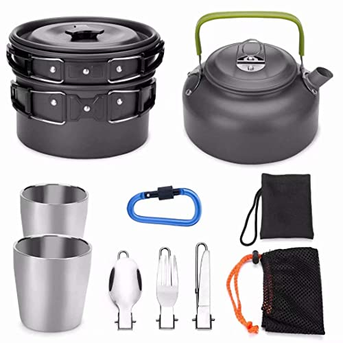 Andes Portable 1-2 Person Aluminium Camping Hiking Pot /& Pan Cookware Set