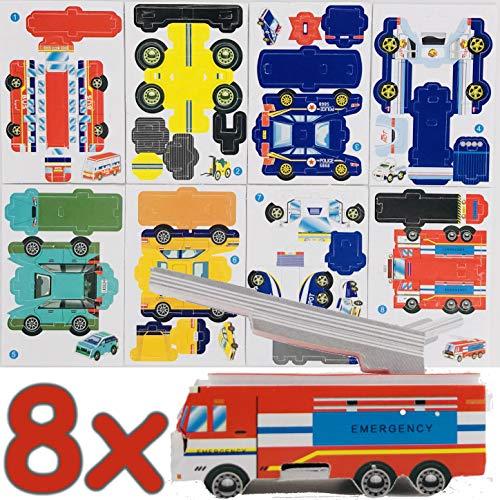 Carpeta® - 8 x Fahrzeuge Puzzle 3D ┃ Mitgebsel ┃ Kindergeburtstag ┃ Cars Spielzeug ┃ Kinder lieben Dieses Auto Basteln