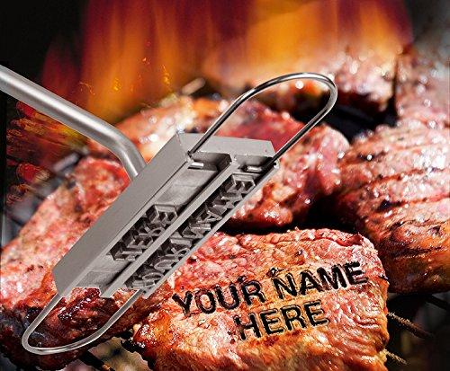 BUVTEC Barbuzzo BBQ Grill Brandeisen Brandmarken mit wechselbaren Buchstaben Grillbuch für Männer