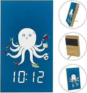 TIKISMILE Cute White Cartoon Octopus Wooden Digital Alarm Clock,Temperature Date LED Display Wood Grain Clock,Wireless Battery Power, USB Charger,Voice Control Modern Printed Clock