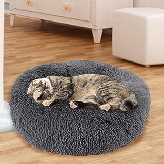 Hualieli Pet Bed Dog Cat Bed Calming Round Nest Calming Bed Round Nest Warm Soft Plush Comfortable For Sleeping Winter Anti-Slip Bottom