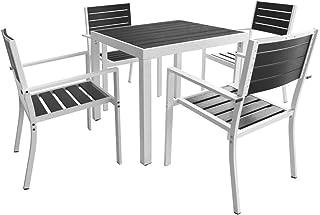 Lasamot Set Comedor jardín 5 pzas Comedor Exterior Conjunto de jardín terraza Muebles de jardín Comedor Juego Conjunto de Sillas Aluminio y Superficie Mesa WPC Negro