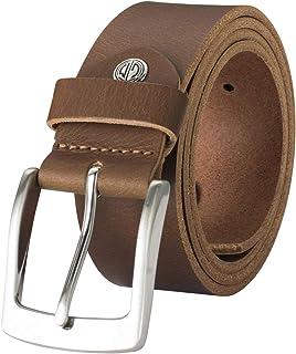 LINDENMANN Mens Leather Belt/Mens Belt, full grain leather belt, buffalo leather 4mm, cognac, Größe/Size:120, Farbe/Color:...